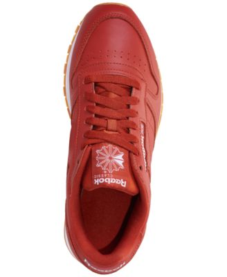 7e93a201d93be Reebok Men s Cl Leather Mu Casual Sneakers from Finish Line - FG-BURNT AMBER WHITE GUM  12