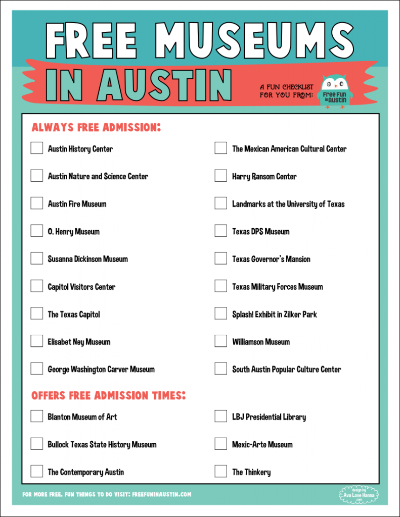 Free Printable Checklist Of Austins FREE Museums Austin TX - Best free museums in usa