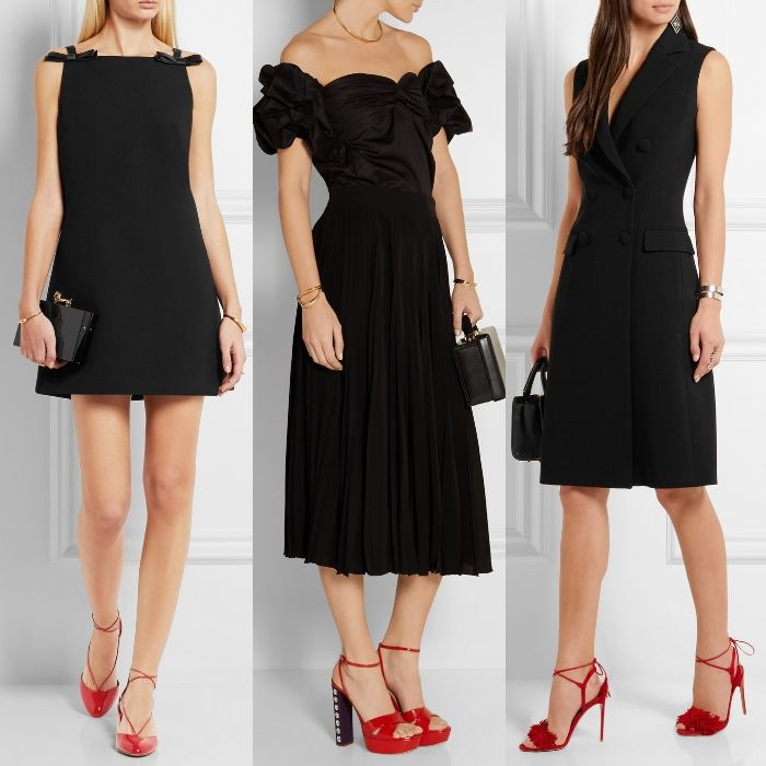 Red shoes outfit, Black cocktail dress