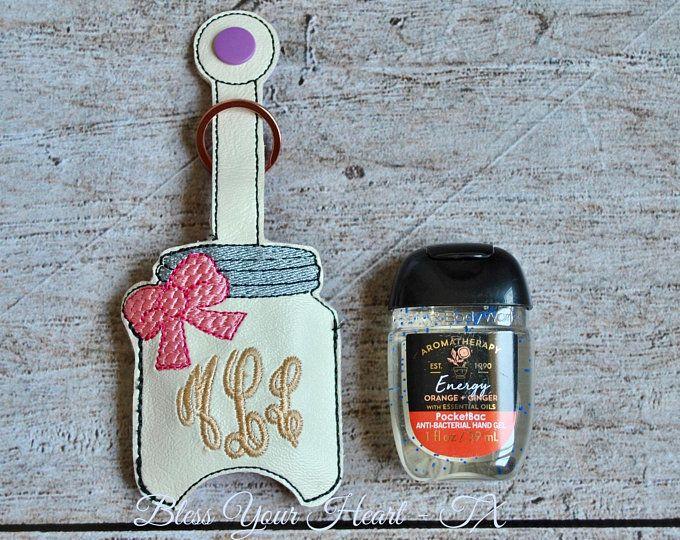 Mason Jar Hand Sanitizer Holder Key Ring Bag Embroidered