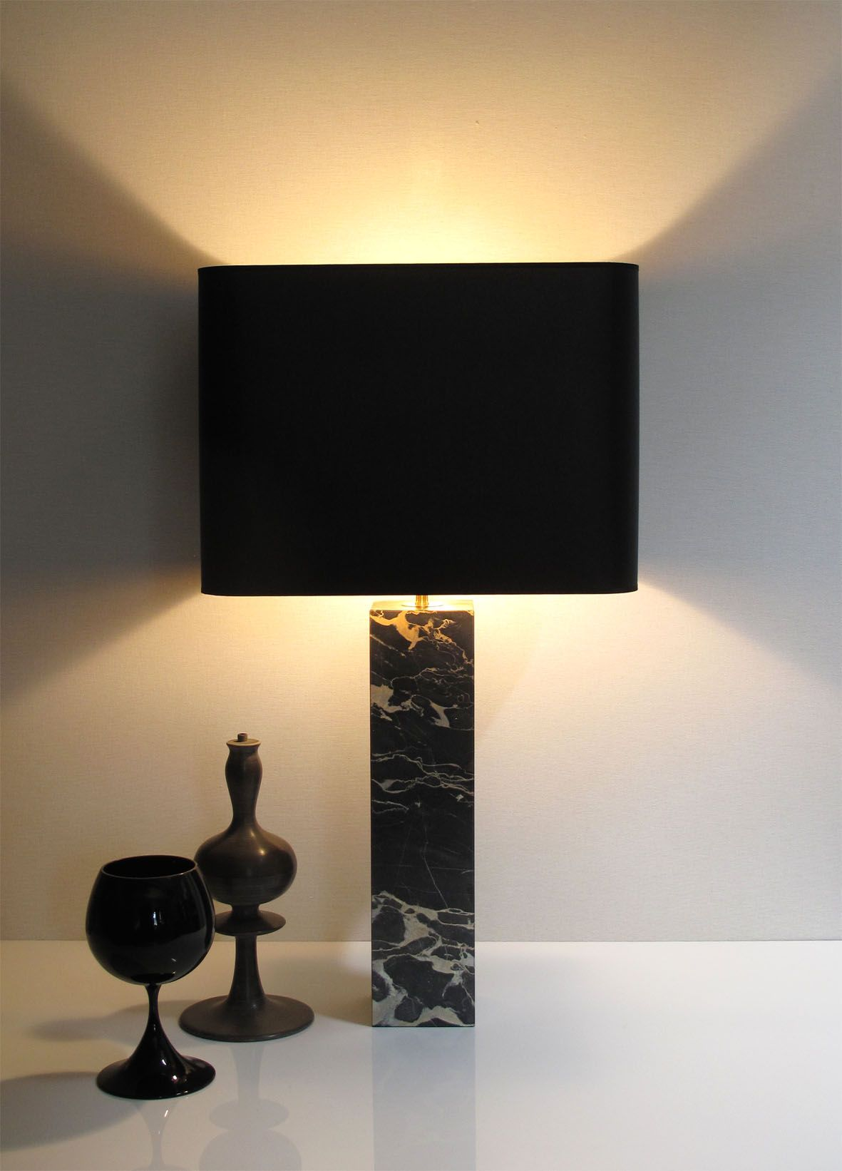 Hera Gm Lampe A Poser Hauteur 68cm Marbre Nero Portoro Abat Jour