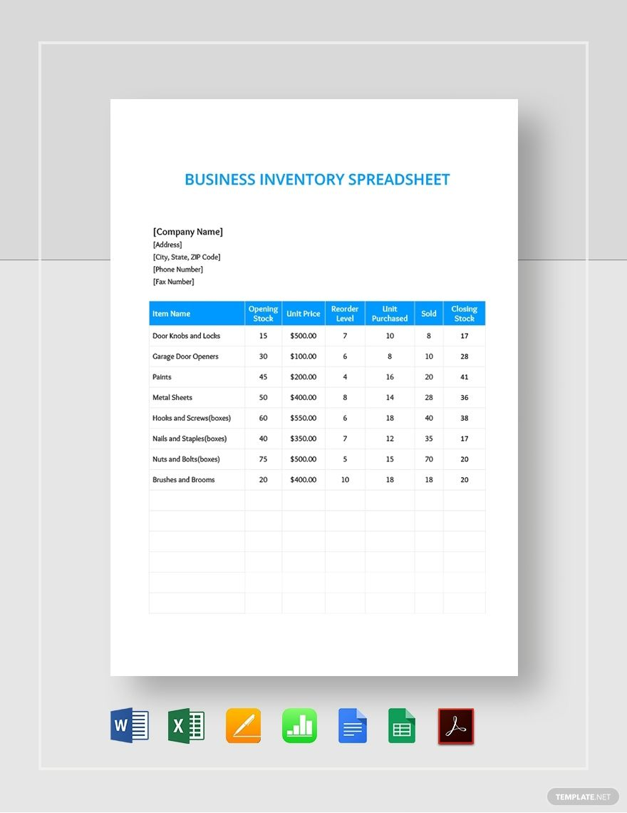 Small Business Inventory Spreadsheet Template #AD, , #ad ...