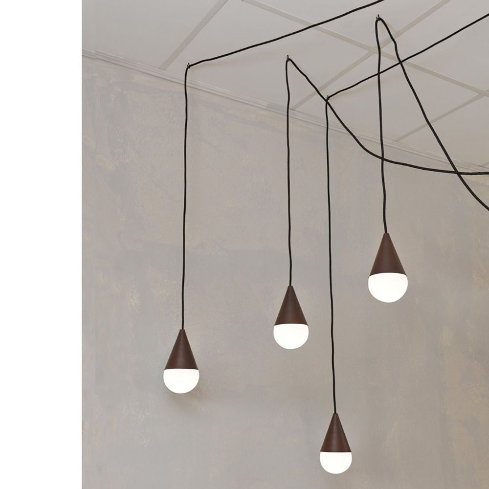 Lampada a sospensione design a 4 luci Drop, colore corten | dining ...