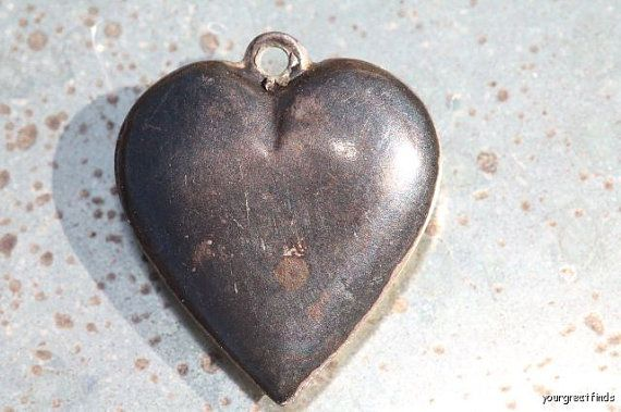 Antique Victorian Sterling Silver Repousse Puffy Heart Charm for a Bracelet
