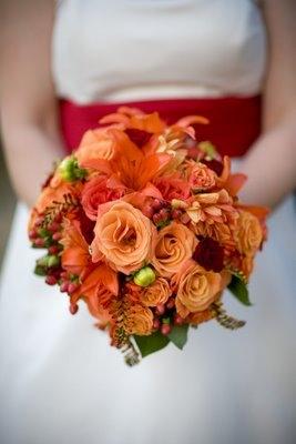 Order Shades of Orange Wedding Bouquet from FLOWER GALLERY