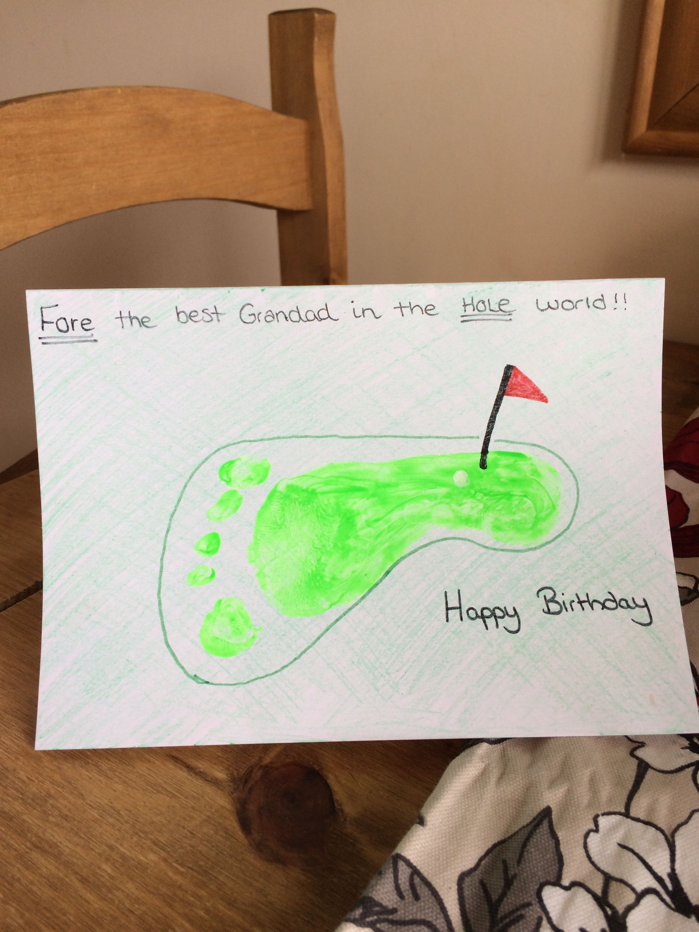 Footprint Art Fore The Best Grandad In The Hole World Golf