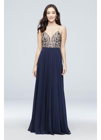bfe5e8f66ff3 Metallic-Embroidered Chiffon A-Line Dress Style J67522