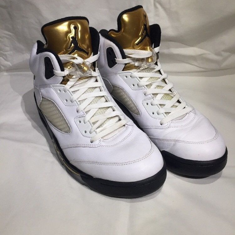 new arrival 576a2 2bfbf New Air Jordan V 5 Retro Gold Coin Olympic Medal White Size 13 136027-133