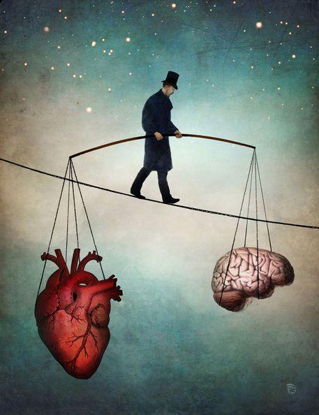 "Listening to your heart vs your brain. 'The Balance"" .... by Christian  Schloe | Cerveau dessin, Art surréaliste, Art"