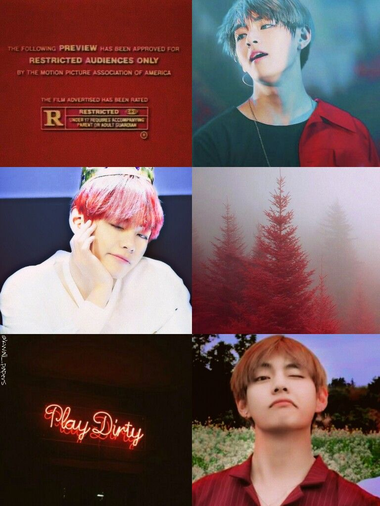 Bts Bangtan Kim Taehyung Red Aesthetic Collage Wallpaper By