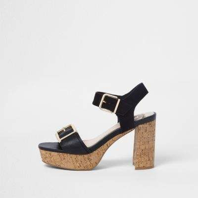 248b117135c Black double buckle strap cork heel sandals - Sandals - Shoes ...