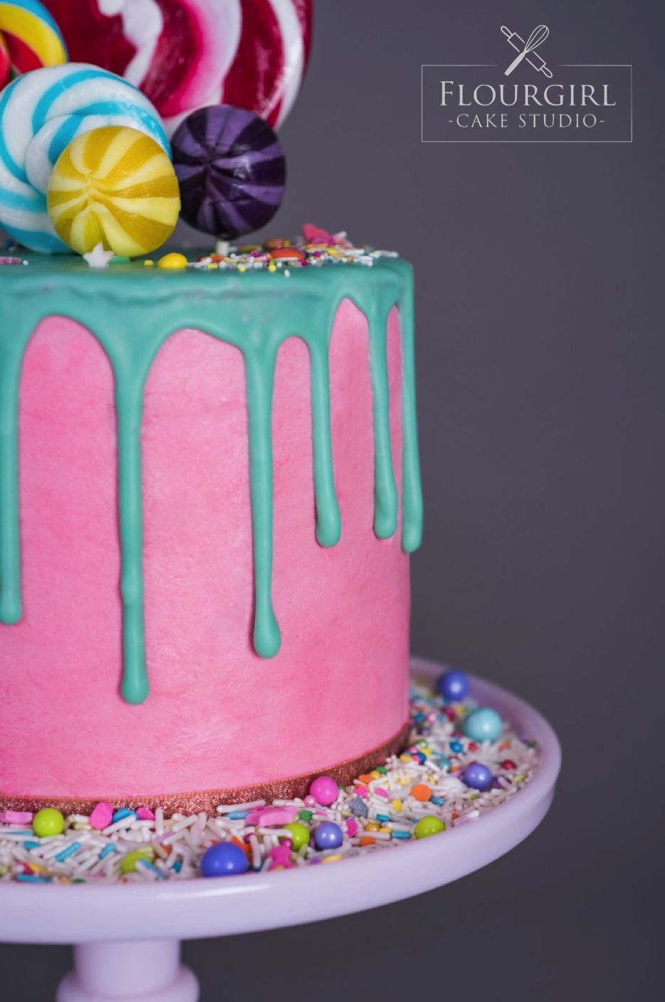 Lollipop Drip Cake Inspired by Katherine Sabbath Neon Drip Cake