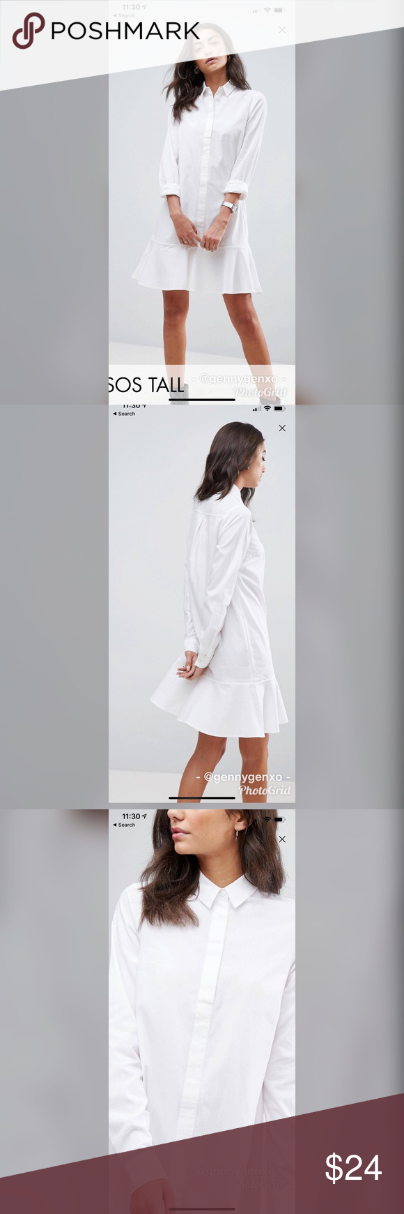 0905e544b7f ASOS Tall Peplum Mini Shirt Dress ASOS Tall White Shirt Dress w  peplum hem  skirt