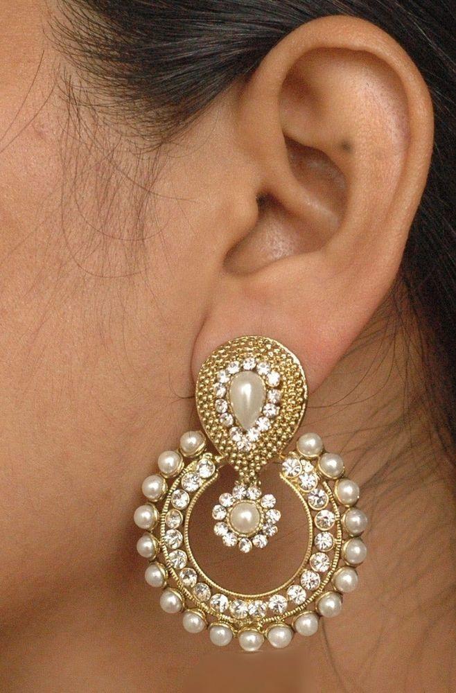 Ethnic Bollywood Jewelry Gold Tone White Indian Pearl Earrings Jhumka Jhumki 36garhiart Stud