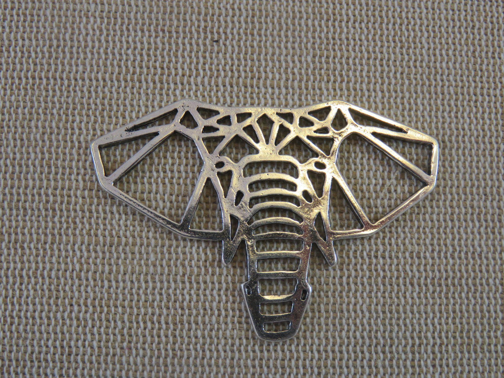 Photo of 2 silberne Origami-Elefantenanhänger aus Metall – Set mit 2 Primer-Anhängern für die Schmuckherstellung