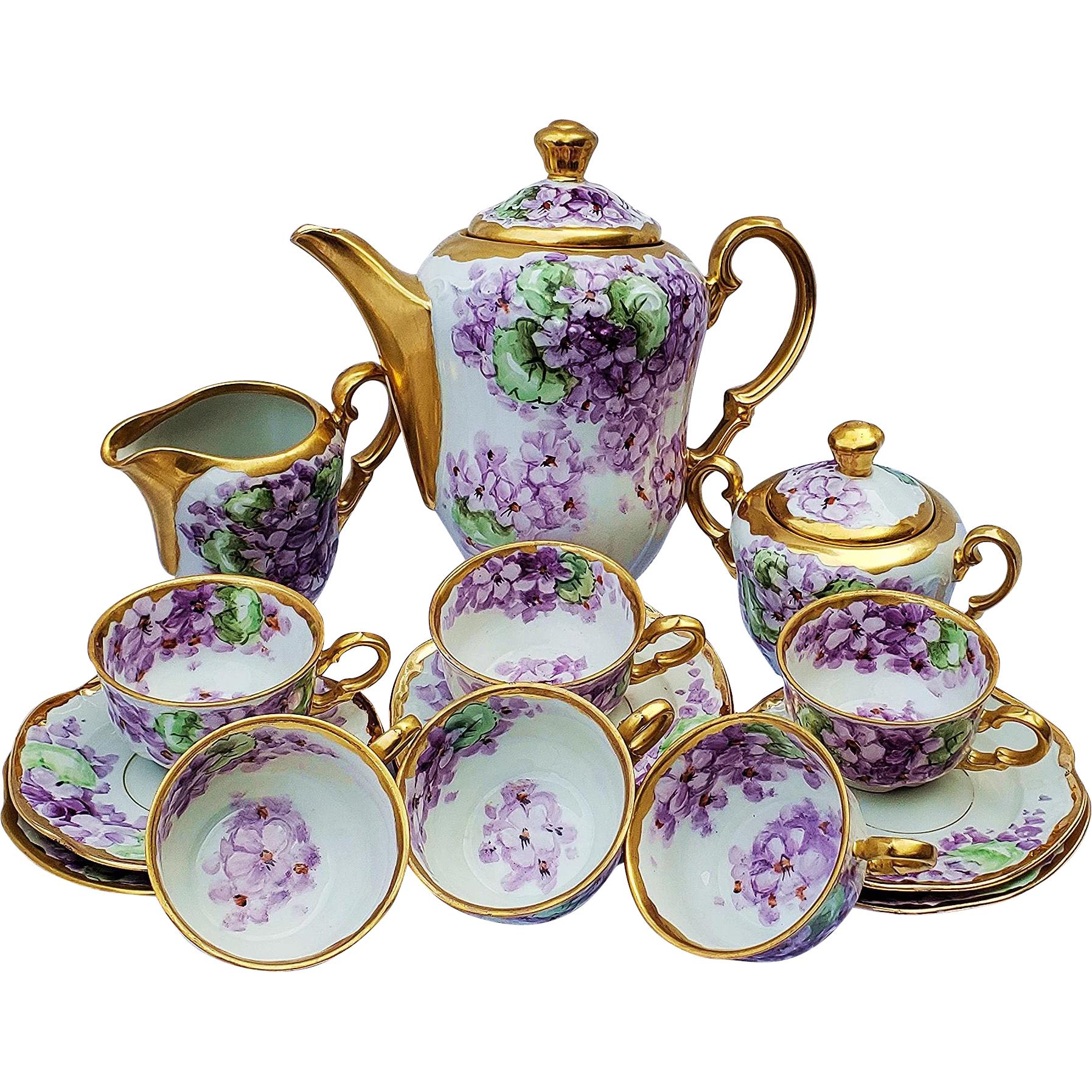 Magnificent Vintage 1910 Hand Painted Lifelike Violets 17 Pc Floral Tea Set by List Chicago Professional Decorator William Wands #teasets