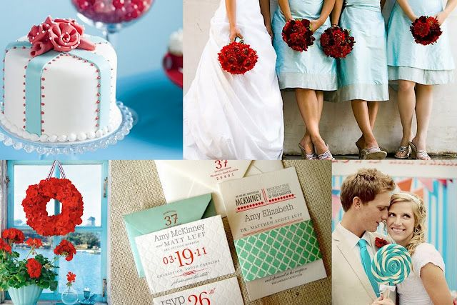 Weddings - aqua, turquoise and red