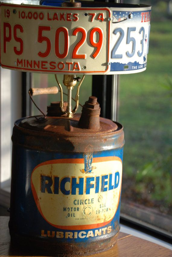 Rat Rod Vintage Richfield Oil Can Lamp by CatkinsCreations on Etsy ...