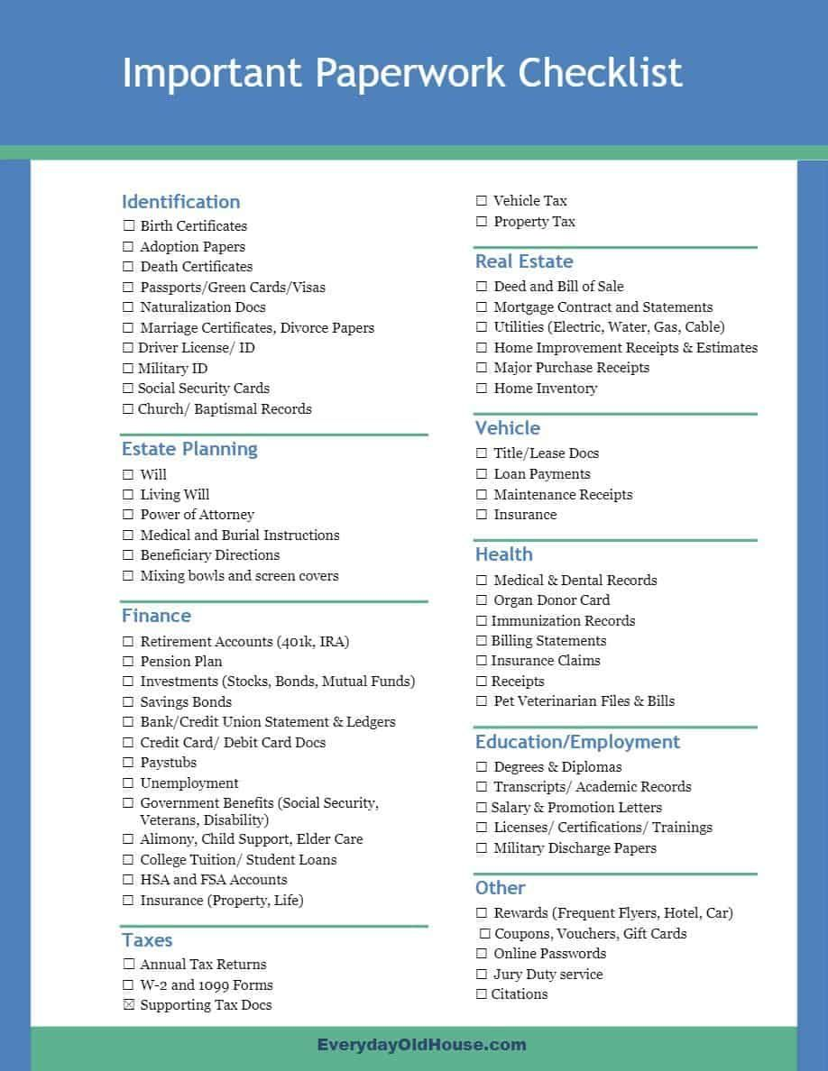 60 Important Papers And Documents For A Home Filing System Checklist Home Filing System Estate Planning Checklist Filing System