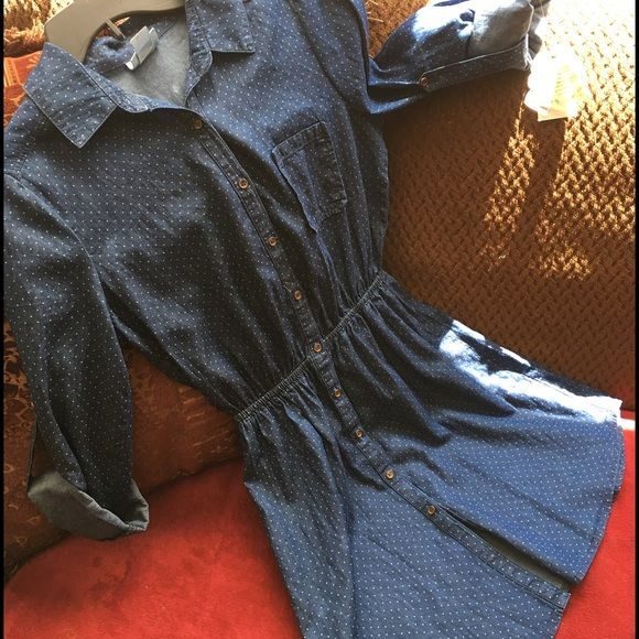 Denim dress Brand new with tag long sleeve jeans dress so lovely go with any shoes u want Macy's cloths Belle by Sigerson Morrison Dresses Long Sleeve