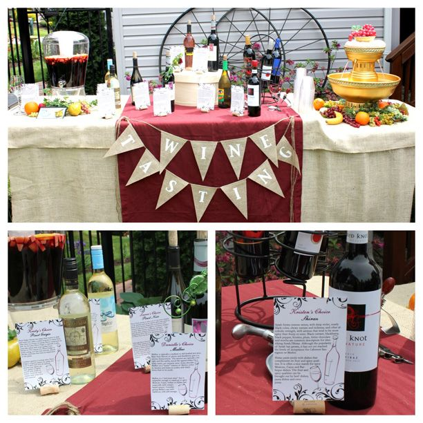 wine themed bridal shower wine tasting table each bridesmaid chose her favorite type of wine cards told attendees about each type and what to pair it