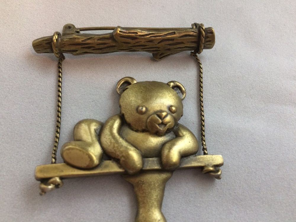 VTG. JJ JONETTE ANTIQUE GOLD TONE ARTICULATED TEDDY BEAR ON A SWING BROOCH~    eBay