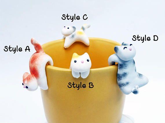 Ähnliche Artikel wie Katze Teebeutel Halter A - Katze Tee Kanne Teebeutel Halter - Katze Liebhaber Teebeutel Halter - lustige Tasse Dekor - Becher Aufkleber - Becher-Dekor - Schale Dekor auf Etsy