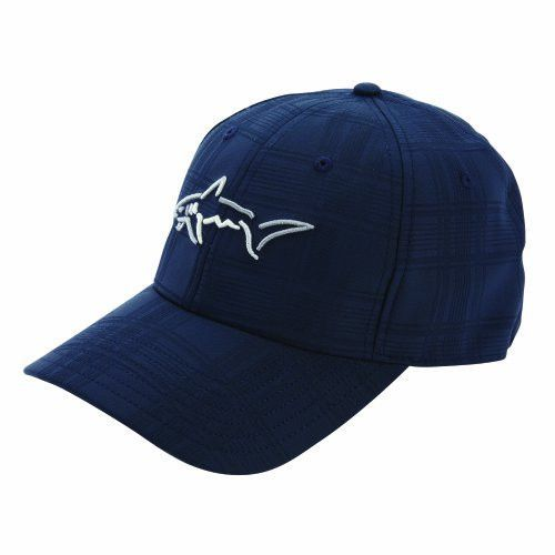 70b3eee84 Greg Norman Men's Shark Embossed Stretch Cap, Navy, One Size Fits All