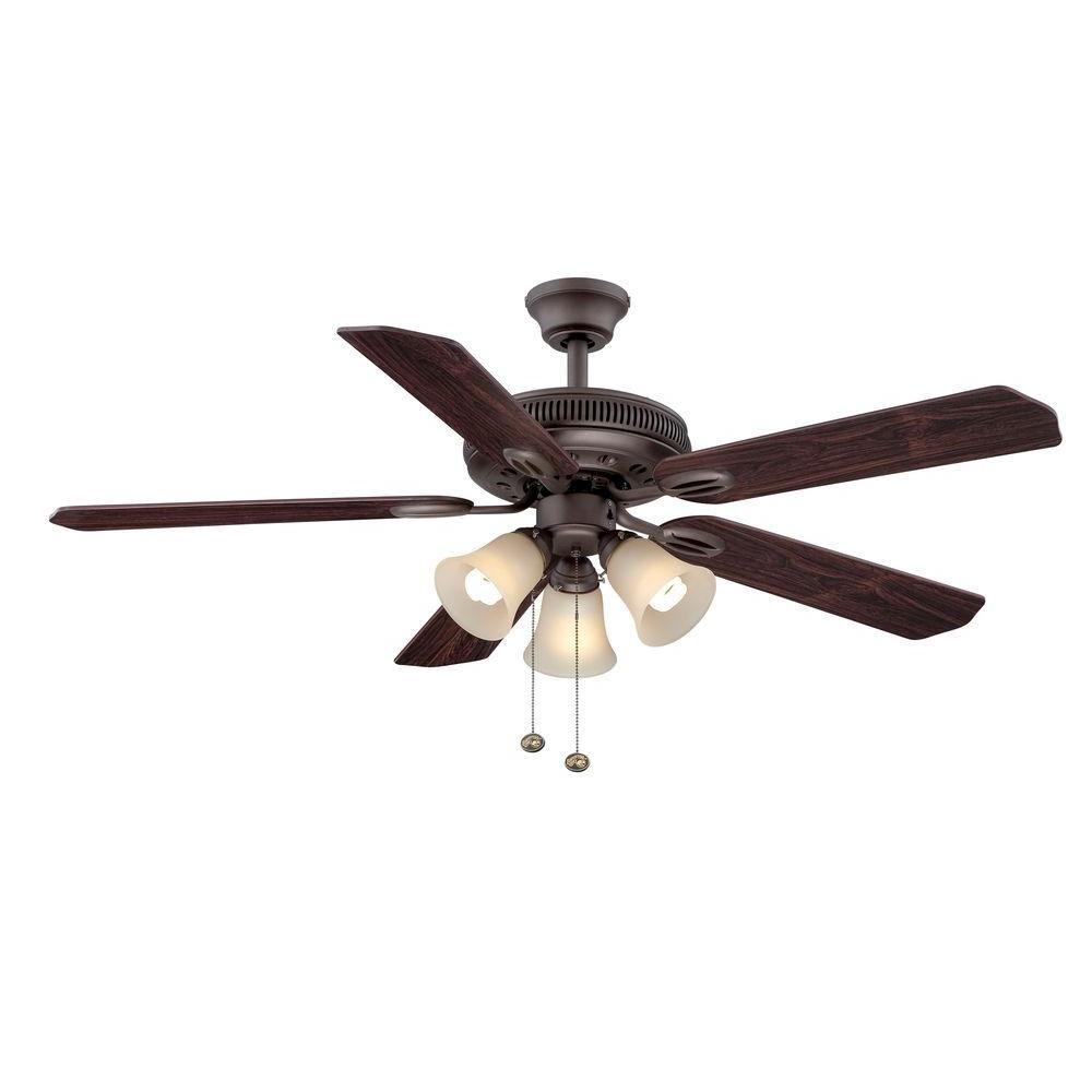Hampton Bay Glendale 52 Ceiling Fan Oil Rubbed Bronze 5 Dark Teak Walnut Blades