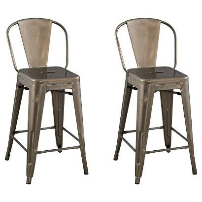 Carlisle Backed 24 Quot Counter Stool Set Of 2 Distressed