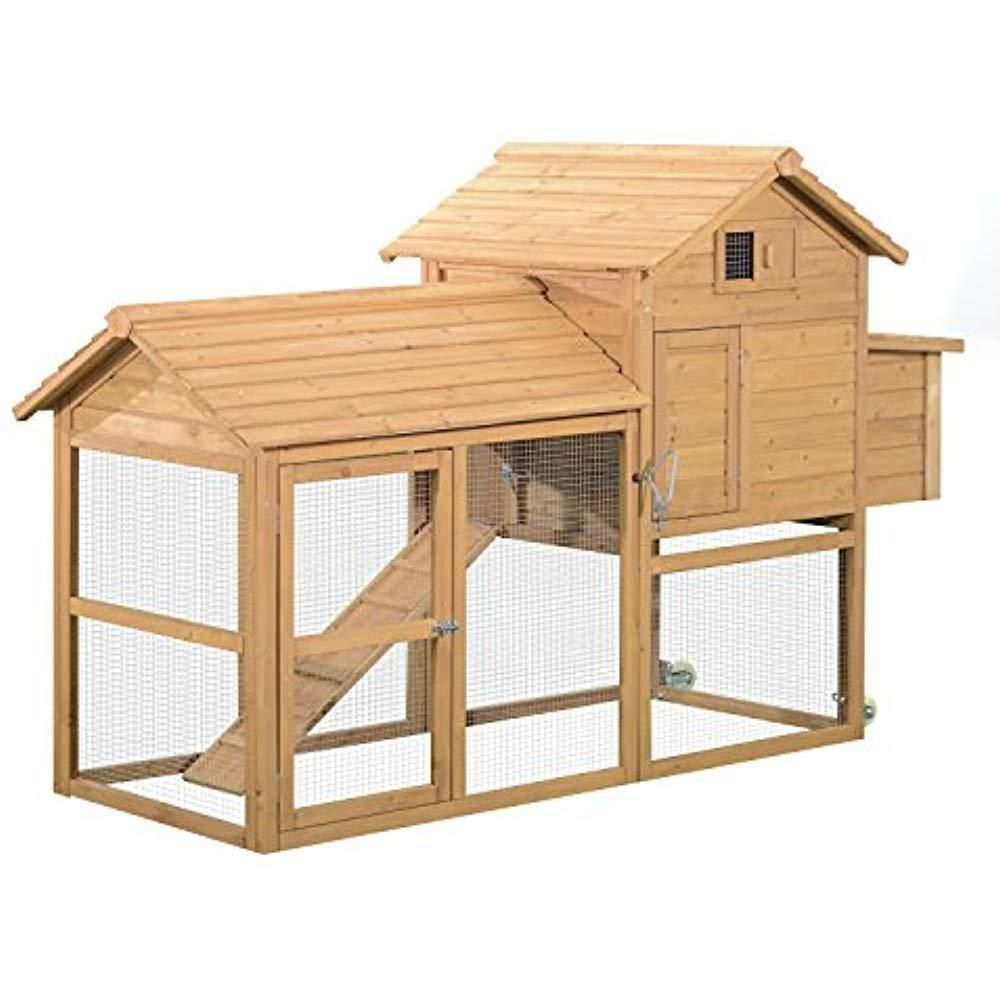 83 Wooden Portable Backyard Chicken Coop With Fenced Run ...