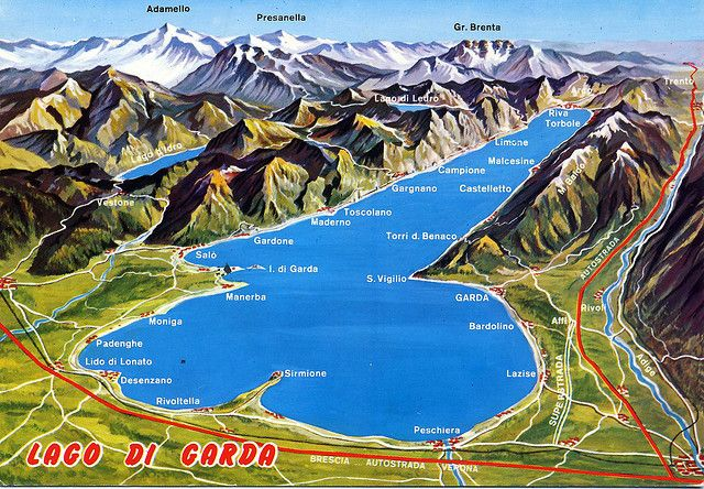 Lago Di Garda Map Card Italia Italian Lakes Travel Italy