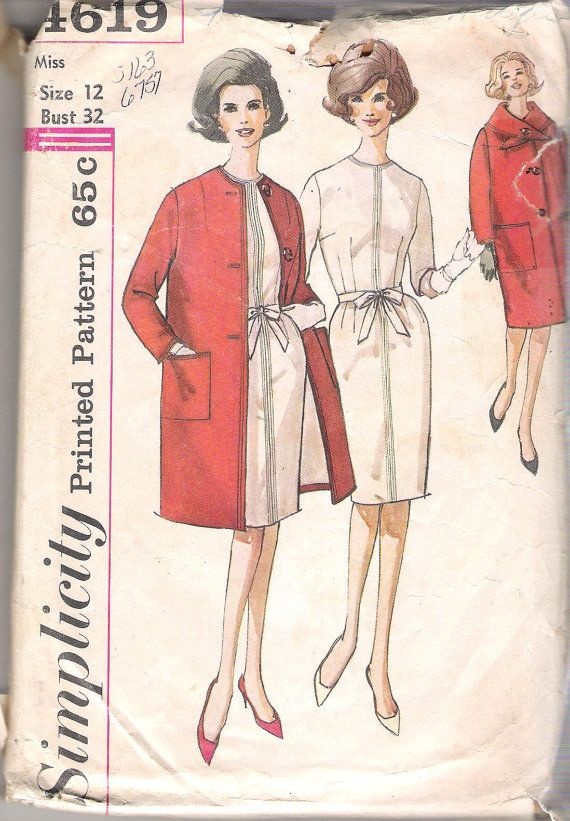 Simplicity 4619 Vintage 1960\'s Misses\' One-Piece Dress, Coat, and ...