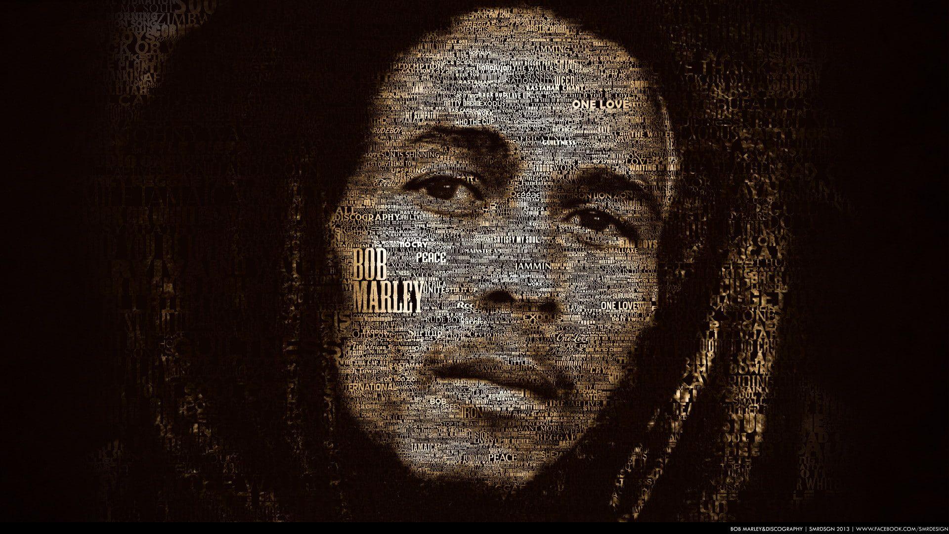 Typography 1920x1080 Bob Marley Hd 4k Bob Marley Discography 1080p Wallpaper Hdwallpaper Desktop Bob Marley Bob Marley Music Bob Marley Painting