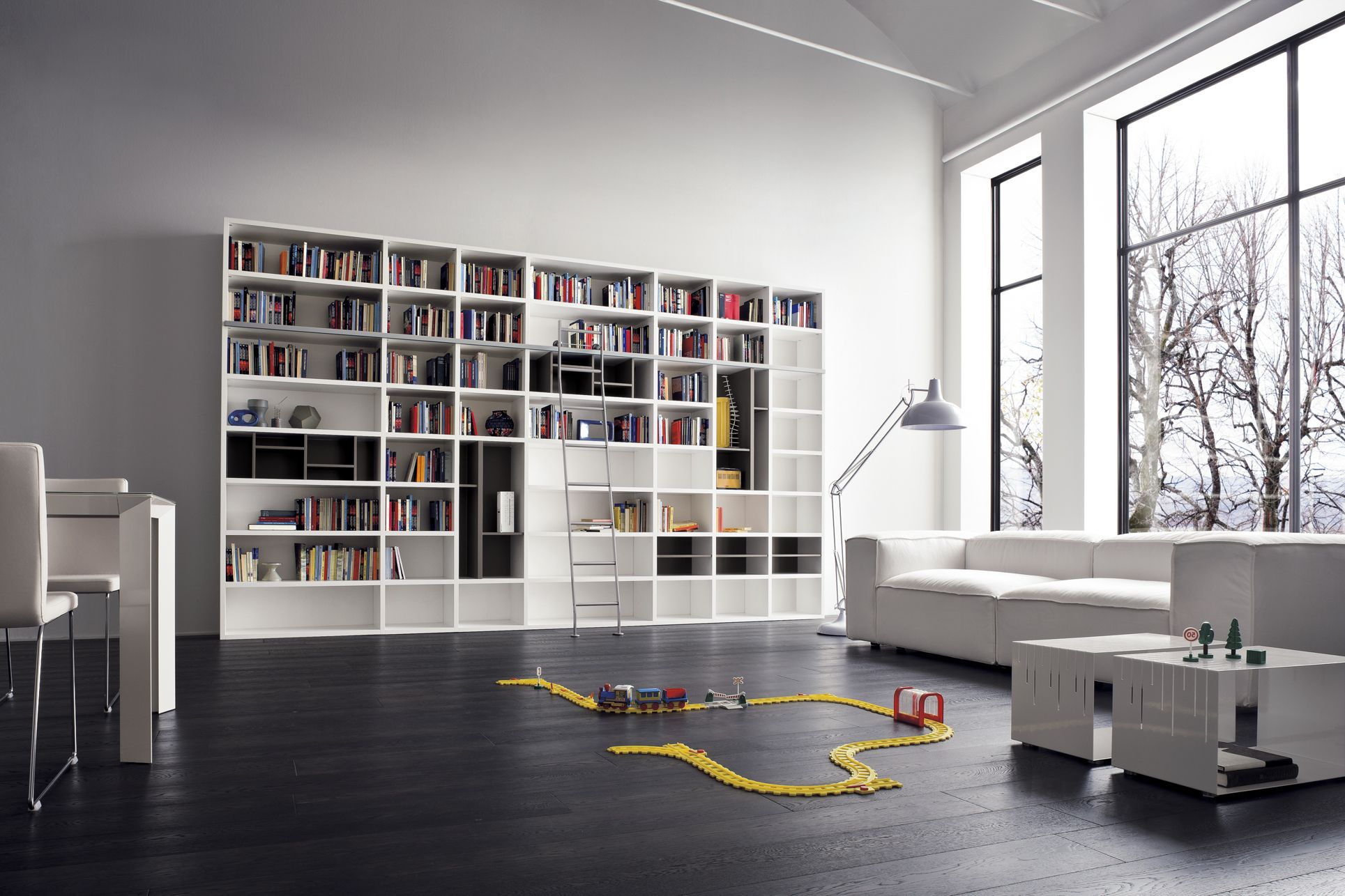 Library Bookshelves By Awesome Modern Home Design With White Bookcase And