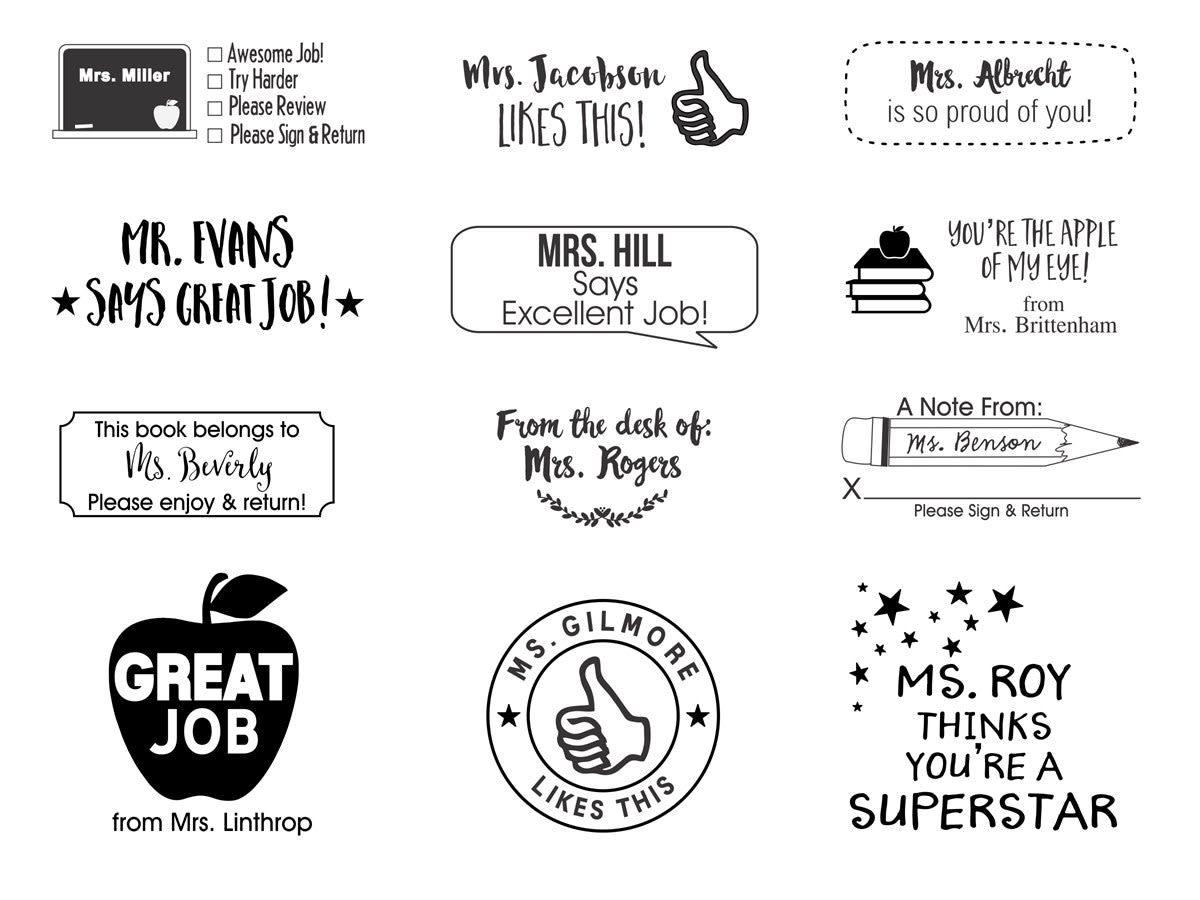 Self Inking Teacher Stamps Sellos Maestro En Ingles Y