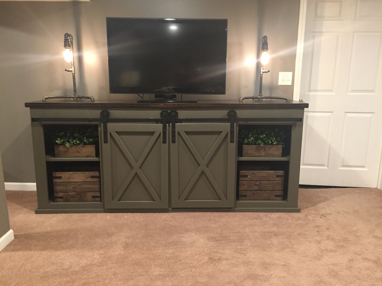 Grandy Console With Barn Door Slider Painted Sherwin Williams Porpoise Barn Door Entertainment Center Barn Door Console Home