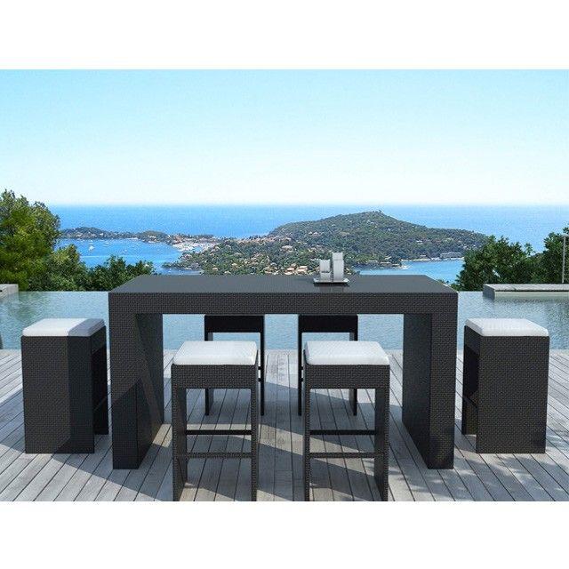 Bar de jardin Calvi en résine tressée noire, coussins blanc | Salons ...