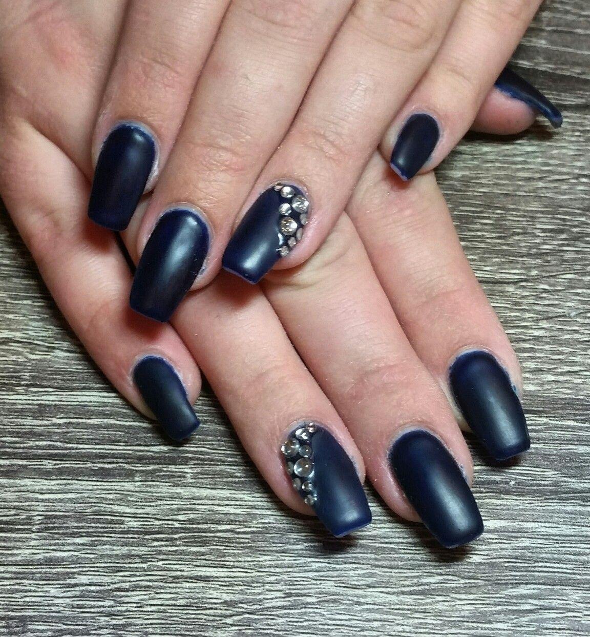 Midnight blue gel nails with gemstones. Matte blue nails. Matte navy ...