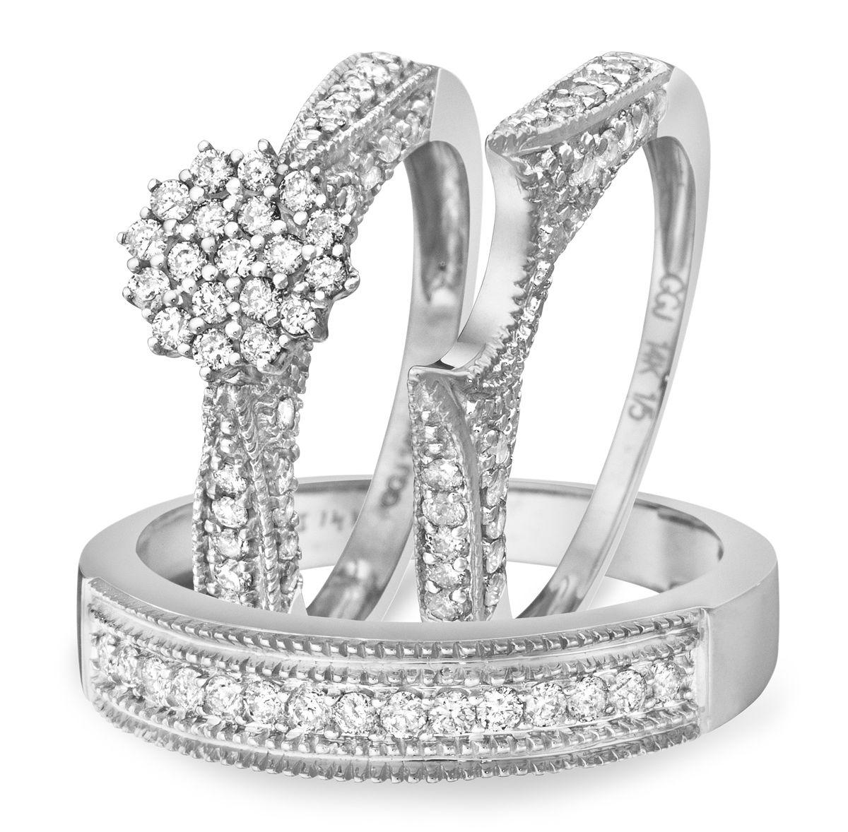 1 Carat Diamond Trio Wedding Ring Set 14k White Gold My Trio Rings Bt103w14k Wedding Ring Trio Sets Wedding Ring Sets Diamond Wedding Sets