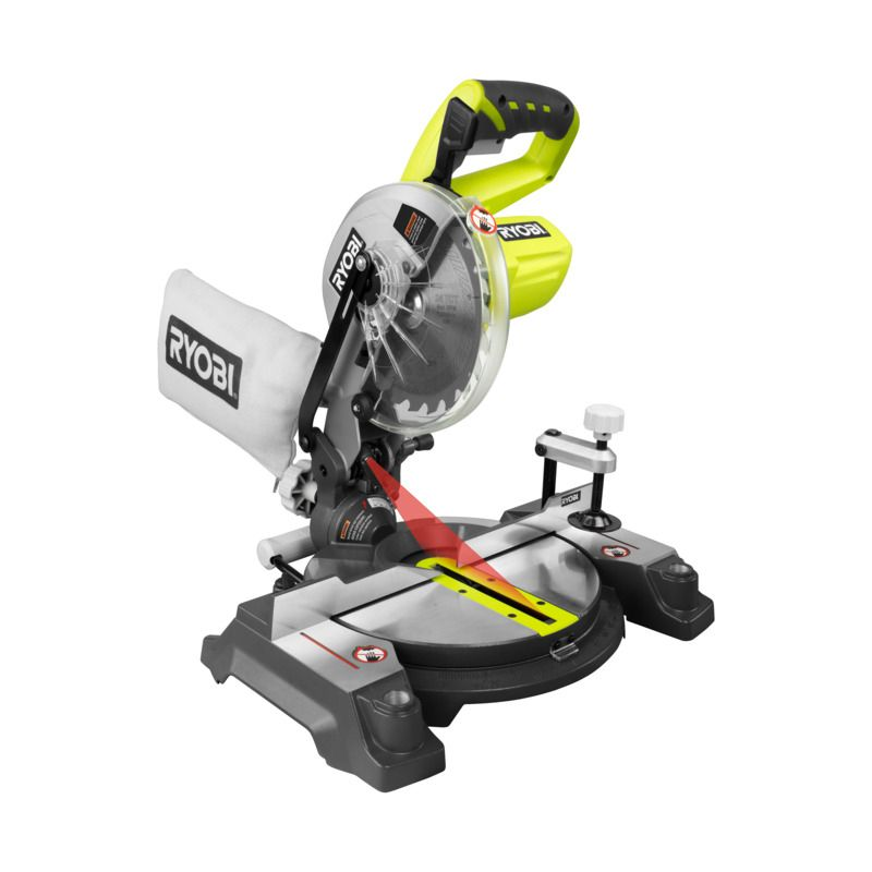 Ryobi One 18v Cordless Mitre Saw Skin Only Bunnings Warehouse Miter Saw Ryobi Tools Woodworking Saws