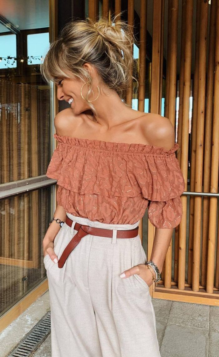 what to wear this summer   off shoulder top and high waist pants