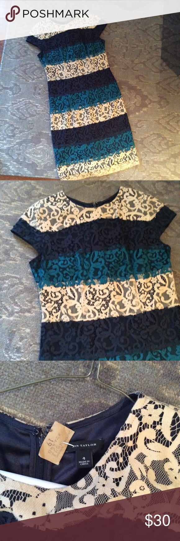 Ann Taylor Lacy Party Dress Excellent condition. Perfect for the holiday season! Ann Taylor Dresses Midi