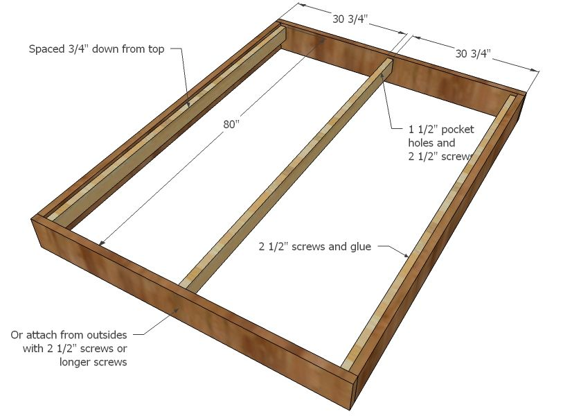 Queen Size Bed Dimensions Step 2 Instructions These Are The Supports For The Mattresses Queen Size Bed Frames Queen Size Bed Frame Diy Diy Bed Frame Queen size bed and frame