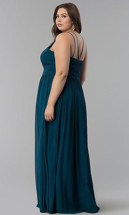 Plus-Size Long V-Neck Chiffon Prom Dress - PromGirl