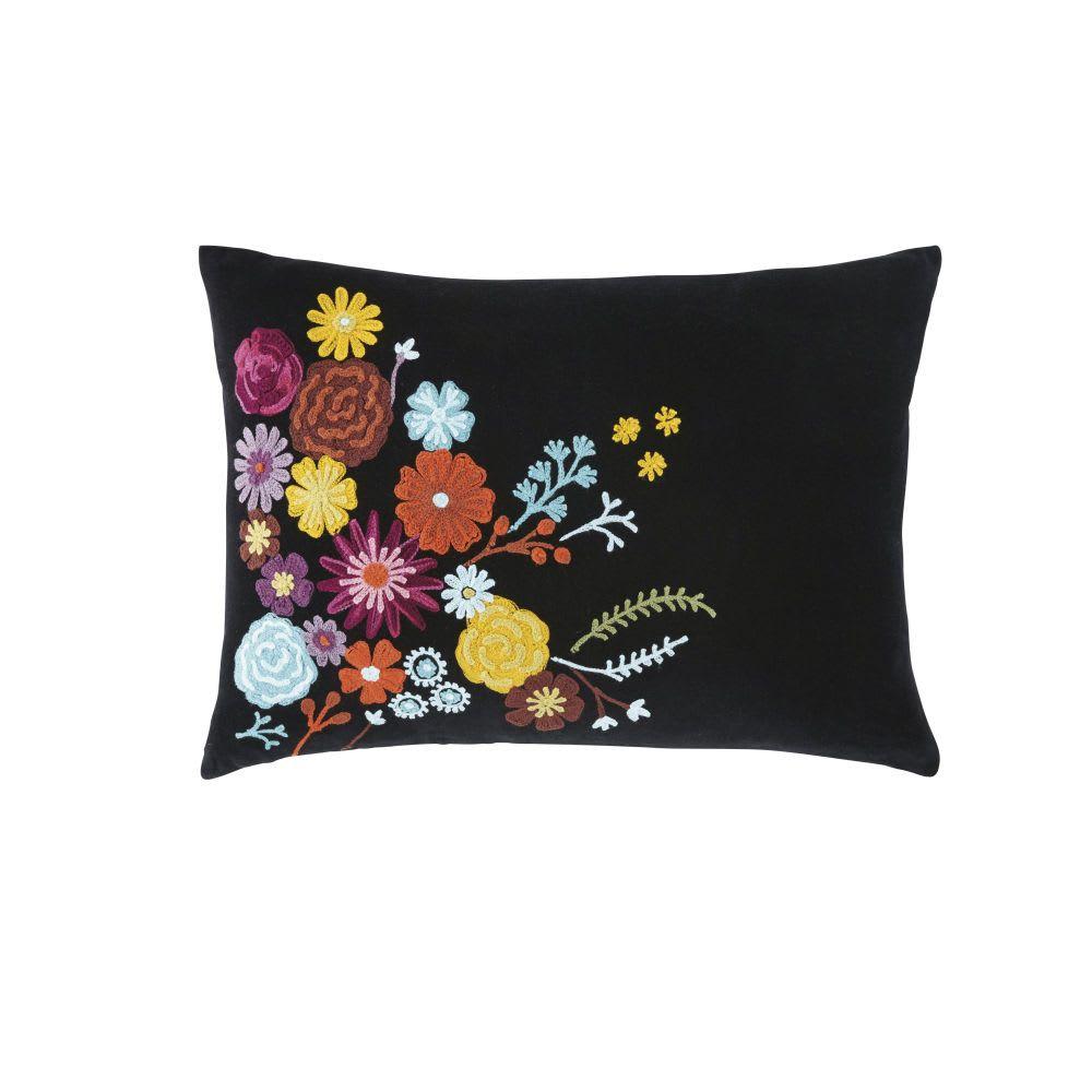 Multicolores Motivos Florales Con Bordados Cojín De Negro Algodón q3cR54AjL