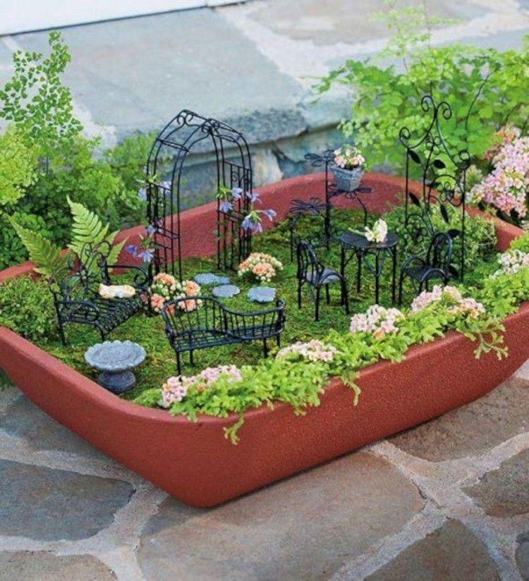 47 Admirable Fairy Furniture Design That Will Make Your Garden Look Beautiful Furniture Design Gardening Fairy Garden Furniture Miniature Garden Fairy Garden