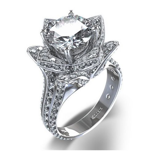 diamond flower wedding rings luxury diamond wedding rings - Luxury Wedding Rings