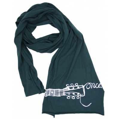"ONCE - LOGO SCARF - Running up to meet your soulmate on a Dublin rooftop? Stay warm and chic in this hunter green unisex jersey cotton scarf featuring the Once The Musical logo. So lightweight, it's perfect for whatever season love strikes. Measures 93"" x 16"""