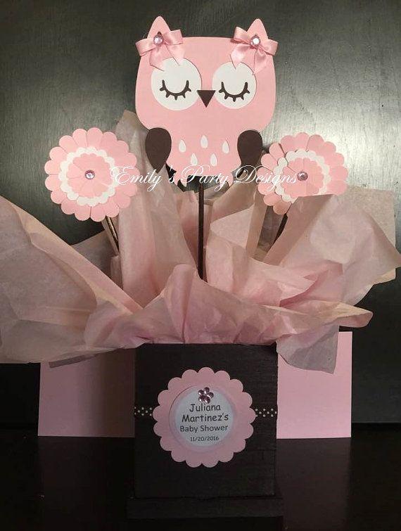 Centro De Mesa De Centros De Mesa Centro De Por Emilypartydesigns Girl Baby Shower Decorations Owl Baby Shower Baby Shower